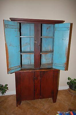 Antique Hutch 19th Century Original Red Paint 1850-1870