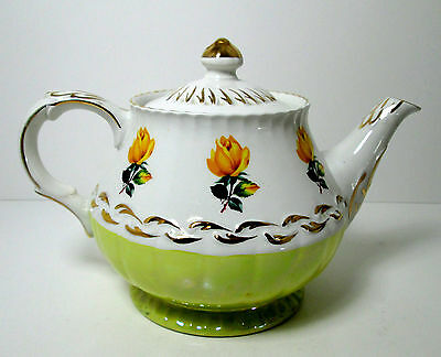 Ellgreave Ironstone Teapot Hand Painted Yellow Flowers 32 oz Tea Pot Wood & Sons