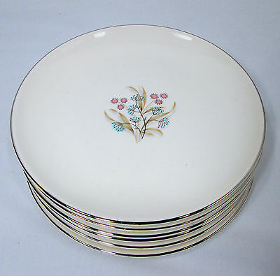 6 Taylor Smith Taylor China Bittersweet Bread Plates Blue Pink Mid Century TST