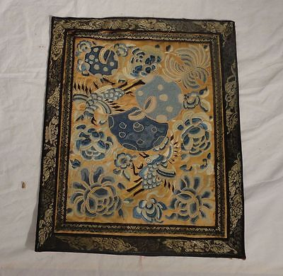 Antique Chinese Embroidery Embroidered Robe Panel Birds Flowers Fruits Forbidden