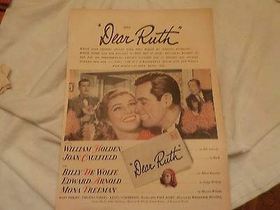 Paramount Pictures Movie Advertisement Dear Ruth  William Holden & Texaco Gas Ad