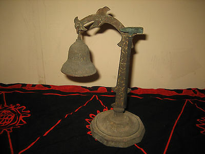 Old ANTIQUE BRASS THE BELL BUDDHA AMULET TEMPLE HANGING AND STAND