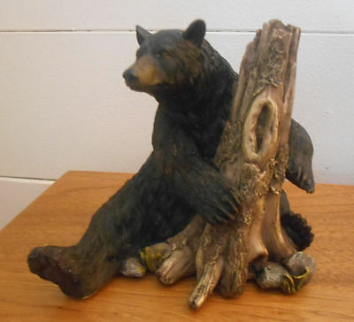 New, Beautiful Black Bear by Tree Stump Figurine
