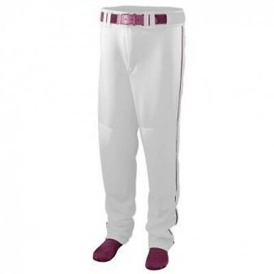 Youth Series Baseball/Softball Pant with Piping - WHITE and MAROON - LARGE. Huge