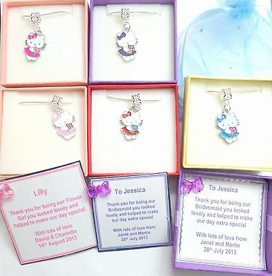 Hello Kitty Charm Necklaces Personalised Box Bridesmaid Flowergirl Birthday gift