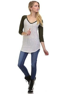 (Small, Olive) - TheLovely Women Pin Striped Solid V-Neck 3/4 Sleeve Tunic Baseb