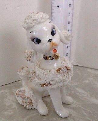 VINTAGE RETRO 50's 60's WHITE AND GOLD WITH RHINESTONES SPAGHETTI NumberedPOODLE