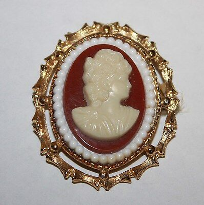Vintage Estate Lucite & Gold Tone Cameo Pin Brooch Cream & Red Woman Lady