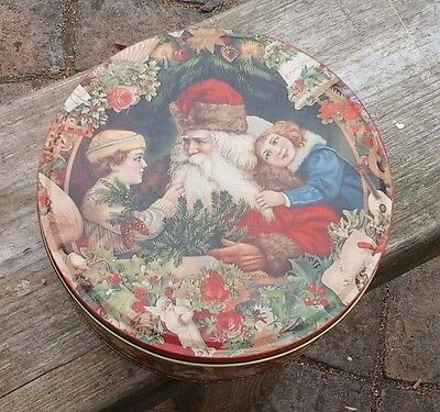 vintage tin for biscuits sweets etc christmas scenes