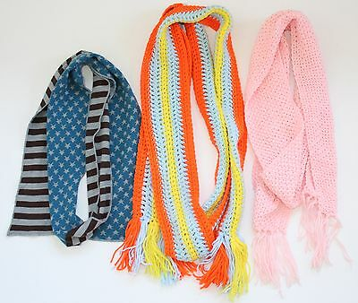 Great Lot Of Womens Long Chunky Knit Scarves, Wraps, Winter Accessories