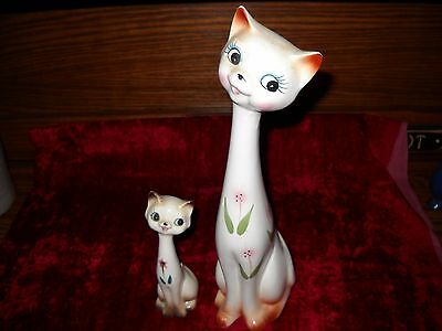 """Vintage 1960's Cat Figurines / Statues Tall & Skinny One 6"""" H One 12"""" H"""