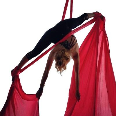(Red) - Aerial silk for acrobatics dance 150cm wide (10 yards) with the Equipmen