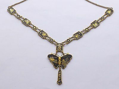 "Exquisite Japanese Komai Damascene Necklace With Butterfly Pendant 19.5"" ref2"