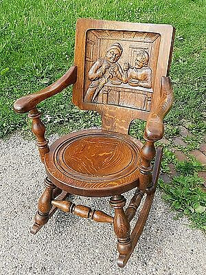 Victorian Antique German wood carved Oak Pub rocking Chair women enjoying meal