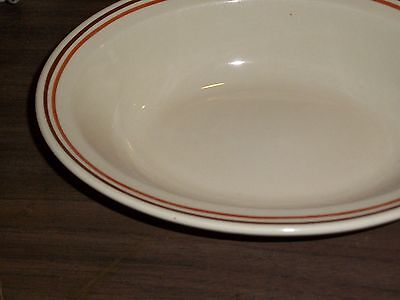 Set of 8 Antique SYRACUSE CHINA ECONO-RIM Oval SERVING ~ Greek SALAD BOWLS 11x13
