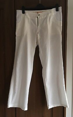 New Look White Linen Maternity Trousers, Size 10