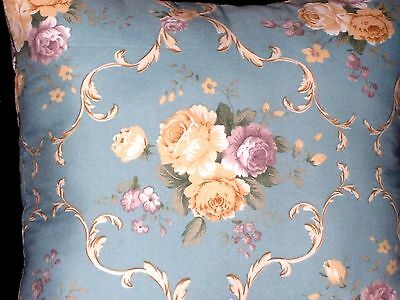 NEW ROMANTIC VICTORIAN CAMEO ROSE FLORAL PILLOW Blue Ivory  Shabby Chic Decor