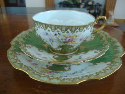 Fine Antique French Limoges Porcelain Hand Painted Cup, Saucer & Plate. #3C1890.