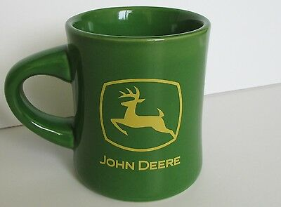 Green John Deere coffee mug with classic logo, heavy and solid, great condition!