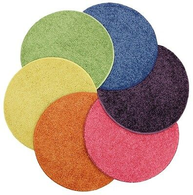 "Bright Multi 3 Sets of 6 CHILDREN'S CRAZY CARPET CIRCLE SEATS 18"" Rug Mats"