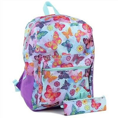 """Girls Butterfly Backpack with Pencil Case 2-Piece 16"""""""