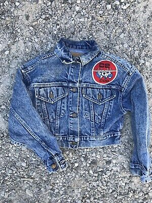 Vintage Kids Levi's Denim Jacket Made In USA Size Medium USN Patches Military