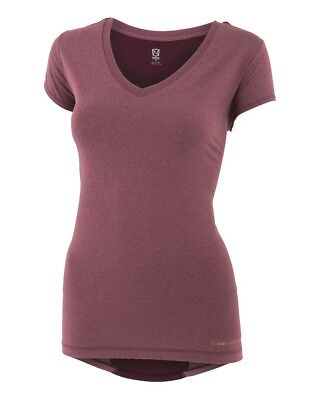 (X-Small, Wine Heather) - Noble Karleigh Short Sleeve V-Neck Vivacious Heather.