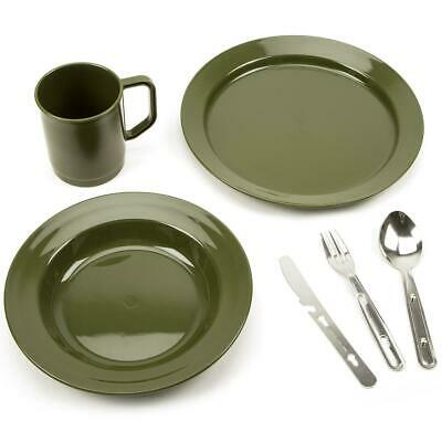 Camping Set Outdoors Army Plastic Picnic Festival Party Dinner Plate Mug Cutlery