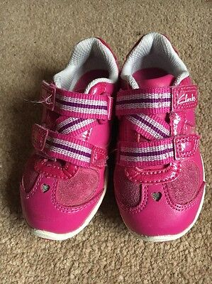 Clarks Girls Pink Trainers With Lights UK Size Infant 4.5 F