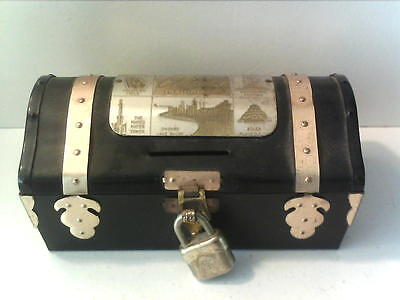 """Vintage Metal Chest Toy Bank & Lock - Chicago - 5 1/2"""" X 3 1/2 """" - West Germany"""
