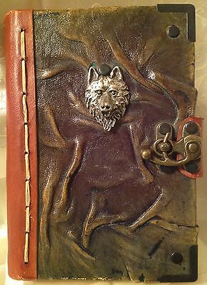 3D Wolf Face Handmade Leather Journal with Fancy Clasp & Chamois Paper MADE UK