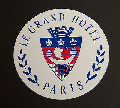 Vintage 1980's Le Grand Hotel Paris  Decal Luggage Sticker 3.5""