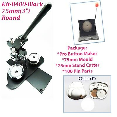 """(KIT)75mm(3"""")PRO BADGE MACHINE BUTTON MAKER-B400+MOULD+100 PARTS+STAND CUTTER"""