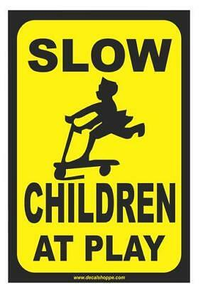 "Slow Children At  Play .040 Aluminum Safety Sign,Black & Yellow 12"" x 18"" NEW"