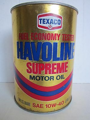 Vintage 1 Quart Texaco HAVOLINE SUPREME MOTOR OIL Can FULL