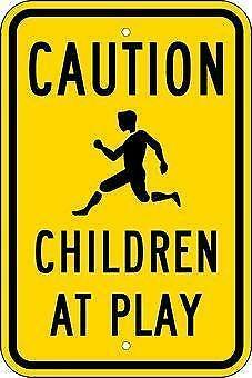 "Caution Children At  Play .040 Aluminum Safety Sign,Black & Yellow 12"" x 18"" NEW"