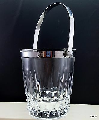 """Cristal D'Arques Tuilleries-Villandry Ice Bucket Clear with Chrome Handle 5-3/8"""""""