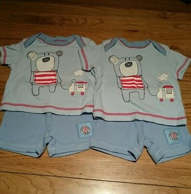Twin boys shorts and t-shirt outfits age 0-3 months