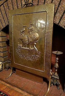 Vintage Brass Nautical Fire Place Screen