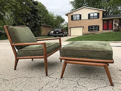 TH Robsjohn Gibbings Lounge Chair And Ottoman For Widdicomb Mid Century Modern