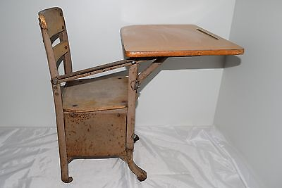 Vintage Childs School Desk With Chair Attached Metal Wood Small Kids Students