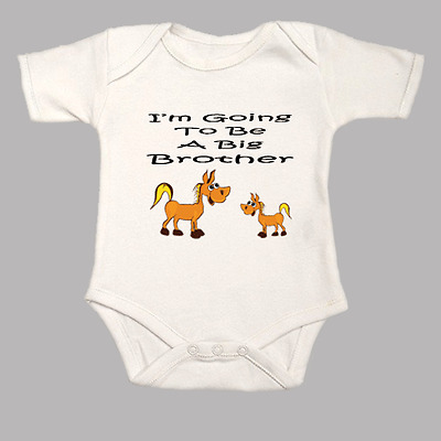 I'm Going To Be a Big Brother Ponies Baby Grow Gro BodySuit Body Suit Vest