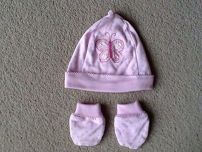 Girls Pink Cotton Hat And Mittens Set 0-1 Month