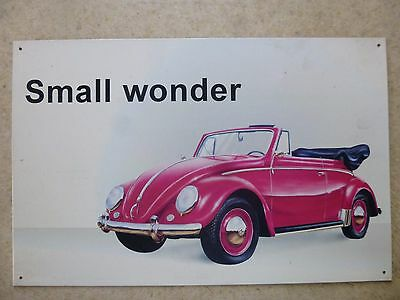 VW Volkswagen Beetle Metal Sign Small Wonder