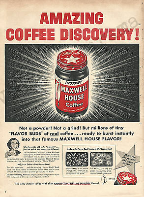 Instant Maxwell House Coffee Original 1953 Vintage Color Print Advertisement