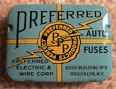 Nos Vintage Original Preferred Auto Fuse Tin Box - Colorful -  Including  Fuses