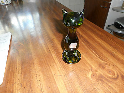 Vintage Green Glass Cat Figure By Viking Glass