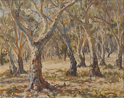 John Rowell 1894-1973 Original Australian Oil Painting Trees Framed SFAA