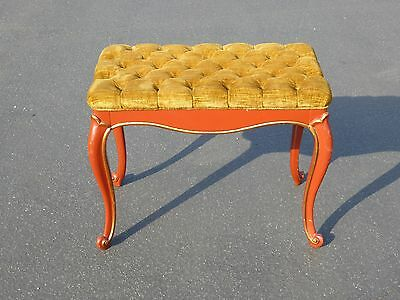 Vintage French Provincial Red Laquer Tufted Gold Velvet BENCH Made in USA