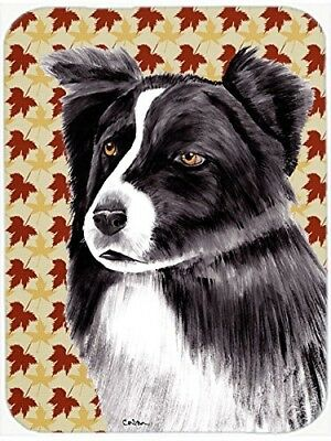 (Fall Leaves) - Caroline's Treasures Border Collie Fall Leaves Portrait Glass